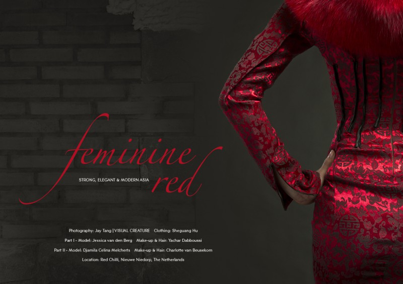 Fashion editorial 'Feminine Red' ft. creations by couturier Sheguang Hu